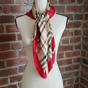 """Burberry 33"""" square silk scarf with red trim"""